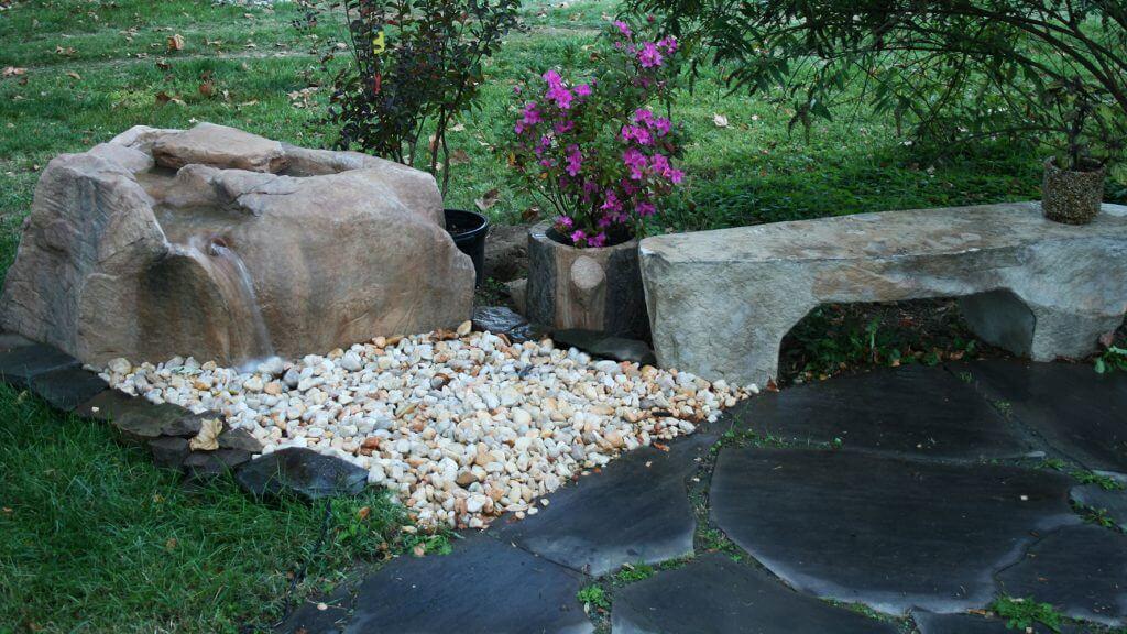WyomingBubbler, stone bench, VA